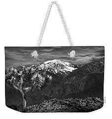 Weekender Tote Bag featuring the photograph Joshua Tree At Keys View In Black And White by Randall Nyhof