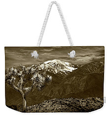 Weekender Tote Bag featuring the photograph Joshua Tree At Keys View In Sepia Tone by Randall Nyhof