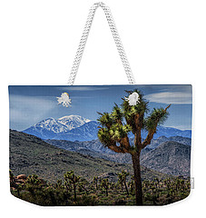 Weekender Tote Bag featuring the photograph Joshua Tree In Joshua Park National Park With The Little San Bernardino Mountains In The Background by Randall Nyhof