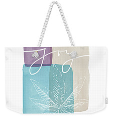 Weekender Tote Bag featuring the mixed media Joy Cannabis Leaf Watercolor- Art By Linda Woods by Linda Woods