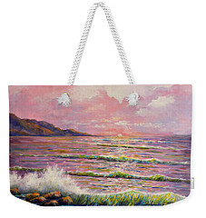 Weekender Tote Bag featuring the painting Joyces Seascape by Lou Ann Bagnall