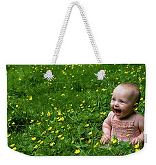 Joyful Baby In Flowers Weekender Tote Bag