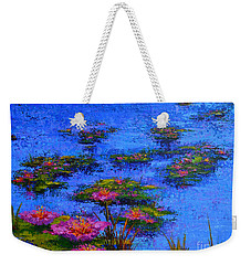 Weekender Tote Bag featuring the painting Joyful State - Modern Impressionistic Art - Palette Knife Landscape Painting by Patricia Awapara