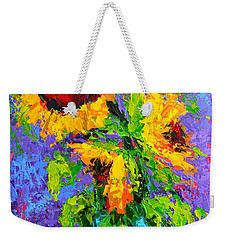 Joyful Trio - Sunflowers Still Life - Modern Impressionistic Art - Palette Knife Weekender Tote Bag