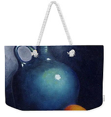 Weekender Tote Bag featuring the painting Jug And Orange. by Gene Gregory