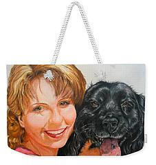 Weekender Tote Bag featuring the drawing Juli And Sam by Karen Ilari