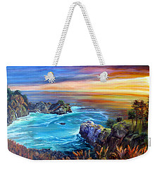 Weekender Tote Bag featuring the painting Julia Pfeiffer Beach by LaVonne Hand