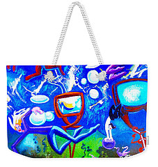 Weekender Tote Bag featuring the painting Jumping Through Tv Land by Genevieve Esson