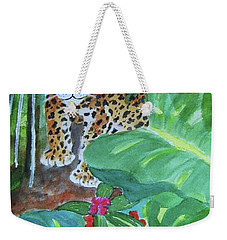 Weekender Tote Bag featuring the painting Jungle Jaguar by Ellen Levinson
