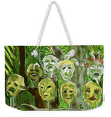 Weekender Tote Bag featuring the digital art Jungle Spirits by Jean Pacheco Ravinski