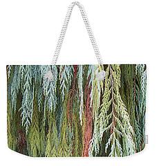 Juniper Leaves - Shades Of Green Weekender Tote Bag by Ben and Raisa Gertsberg