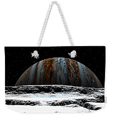 Weekender Tote Bag featuring the digital art Jupiter Rise At Europa by David Robinson