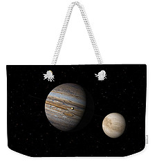 Weekender Tote Bag featuring the digital art Jupiter With Io And Europa by David Robinson