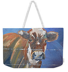 Weekender Tote Bag featuring the painting Just A Big Happy Cow On A Little Square Canvas by Jan Dappen