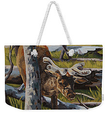 Weekender Tote Bag featuring the painting Just A Peek by Erin Fickert-Rowland