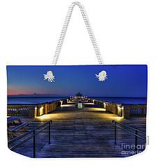 Weekender Tote Bag featuring the photograph Just Before Dawn Folly Beach Pier Charleston Sc Sunrise Art by Reid Callaway