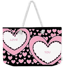 Just Hearts 2 Weekender Tote Bag by Linda Velasquez
