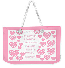 Just Hearts 3 Weekender Tote Bag by Linda Velasquez