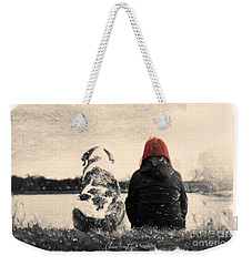 Weekender Tote Bag featuring the painting Just Sitting In The Morning Sun by Chris Armytage
