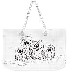 Weekender Tote Bag featuring the drawing Just The Four Of Us by Ramona Matei