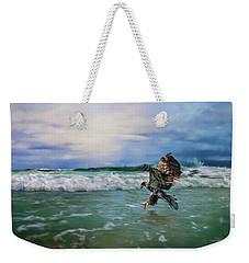Juvenile Eagle At Sea Wildlife Art Weekender Tote Bag by Jai Johnson