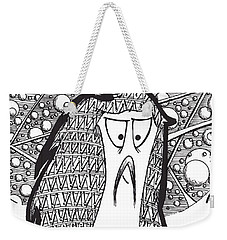 Weekender Tote Bag featuring the drawing Kabuki Spaceghost by Uncle J's Monsters
