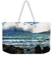 Weekender Tote Bag featuring the digital art Kaikoura Seascape by Kai Saarto