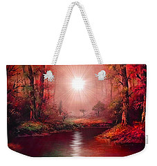 Weekender Tote Bag featuring the painting Kaleidoscope Forest by Michael Rucker
