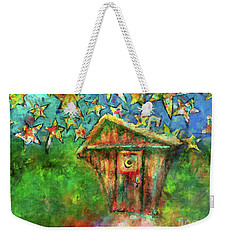 Kaleidoscope Skies Weekender Tote Bag by Claire Bull