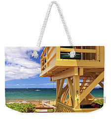 Weekender Tote Bag featuring the photograph Kamaole Beach Lifeguard Tower by James Eddy