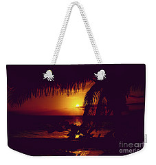 Weekender Tote Bag featuring the photograph Kamaole Tropical Nights Sunset Gold Purple Palm by Sharon Mau
