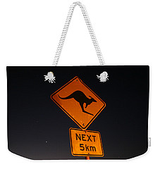 Weekender Tote Bag featuring the photograph Kangaroo Road Sign In The Northern Territory by Keiran Lusk