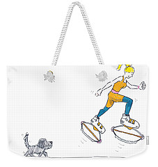 Kangoo Jumps Bouncy Shoes Walking The Dog Keep Fit Cartoon Weekender Tote Bag