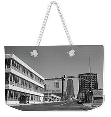 Weekender Tote Bag featuring the photograph Kansas City - 18th Street Bw by Frank Romeo
