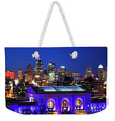 Kansas City Skyline At Night Weekender Tote Bag