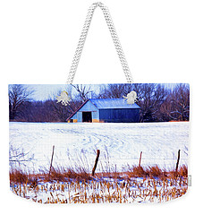 Kansas Winter Field Barn 1 Weekender Tote Bag