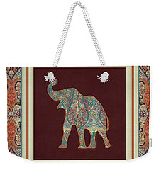 Weekender Tote Bag featuring the painting Kashmir Elephants - Vintage Style Patterned Tribal Boho Chic Art by Audrey Jeanne Roberts