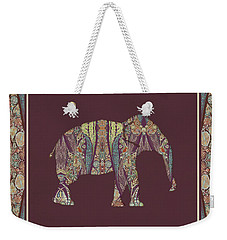 Weekender Tote Bag featuring the painting Kashmir Patterned Elephant 2 - Boho Tribal Home Decor  by Audrey Jeanne Roberts