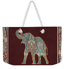 Weekender Tote Bag featuring the painting Kashmir Patterned Elephant 3 - Boho Tribal Home Decor by Audrey Jeanne Roberts