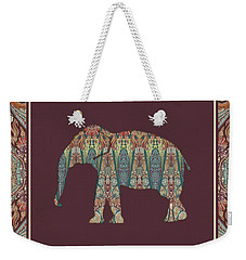 Weekender Tote Bag featuring the painting Kashmir Patterned Elephant - Boho Tribal Home Decor  by Audrey Jeanne Roberts