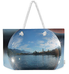 Weekender Tote Bag featuring the photograph Kaslo Through The Looking Glass by Cathie Douglas