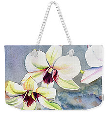 Weekender Tote Bag featuring the painting Kauai Orchid Festival by Marionette Taboniar