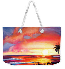 Weekender Tote Bag featuring the painting Kauai West Side Sunset by Marionette Taboniar