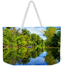 Weekender Tote Bag featuring the photograph River Kayaking by Michael Rucker