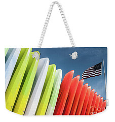 Kayaks With Flag Weekender Tote Bag