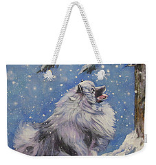 Keeshond In Wnter Weekender Tote Bag