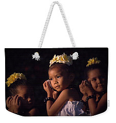 Weekender Tote Bag featuring the photograph Keiki Conch Shell Hula by Lori Seaman
