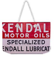 Kendall Motor Oils Sign Weekender Tote Bag