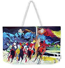 Weekender Tote Bag featuring the painting Kentucky Derby Day by John Jr Gholson