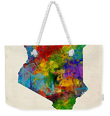 Weekender Tote Bag featuring the digital art Kenya Watercolor Map by Michael Tompsett